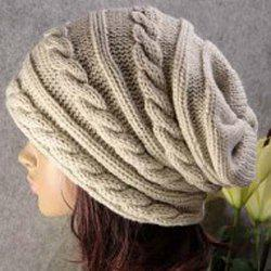 Stylish Solid Color Hemp Flower Embellished Knitted Beanie For Men and Women - OFF-WHITE
