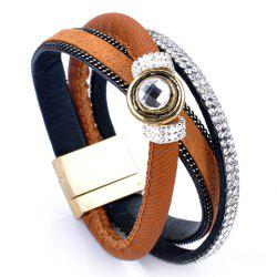 Ethnic Faux Leather Rhinestone Layered Bracelet - BROWN