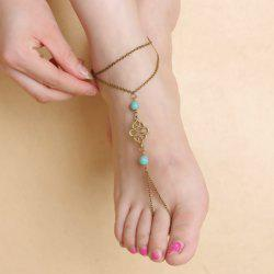 Vintage Fake Turquoise Double Layered Fancy Anklets - RANDOM COLOR
