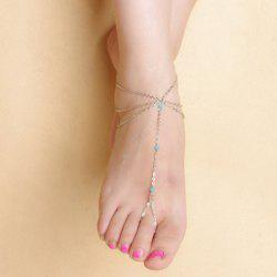 Faux Crystal Beads Layered Tassel Anklet -