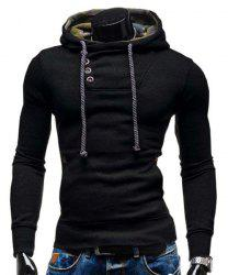 Trendy Hooded Oblique Button Patched Splicing Slimming Long Sleeve Cotton Blend Hoodie For Men