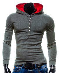 Stylish Hooded Simple Solid Color Buttons Design Slimming Long Sleeve Polyester Hoodie For Men - GRAY M