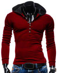 Stylish Hooded Simple Solid Color Buttons Design Slimming Long Sleeve Polyester Hoodie For Men - RED