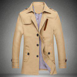 Minceur Casual Turn-down col Multi-Bouton Manteau long Trench manches Épaulette tissu Spliced Hommes -