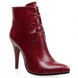 Stylish Solid Colour and Pointed Toe Design Women's High Heel Boots -