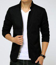 Slimming Stand Collar Zipper Pocket French Front Fabric Spliced Long Sleeves Men's Casual Jacket - BLACK