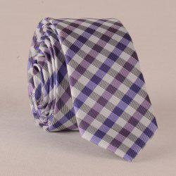 Stylish Tartan Pattern Purple Splice Tie For Men