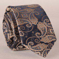 Stylish Fulled Paisley Embroidery Jacquard Tie For Men - ROSE GOLD