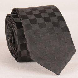 Stylish Checked Pattern Black Tie For Men - BLACK