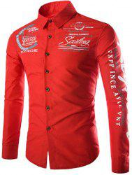 Stylish Slimming Shirt Collar Letter and Badge Print Long Sleeve Polyester Shirt For Men - RED