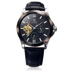 Tevise 8502 Men Tourbillon Automatic Mechanical Watch with Working Sub-dials Leather Band - BLACK