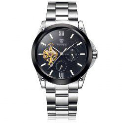 Tevise 8502 Men Tourbillon Automatic Mechanical Watch with Two Working Sub-dials Alloy Strap -