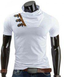 Trendy Slimming Cowl Neck Color Block Horn Button Short Sleeve Polyester T-Shirt For Men - WHITE