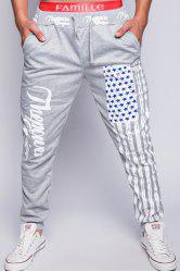 Loose Fit Stylish Lace-Up American Flag Print Beam Feet Men's Polyester Jogger Pants - LIGHT GRAY
