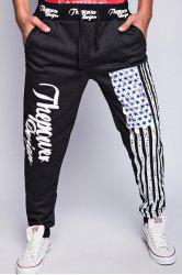 Loose Fit Stylish Lace-Up American Flag Print Beam Feet Men's Polyester Jogger Pants