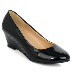 Simple Style Patent Leather and Solid Color Design Women's Wedge Shoes - BLACK