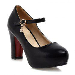 Ladylike Solid Color and PU Leather Design Women's Pumps - BLACK