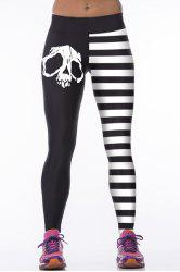 Skulls Stripes Tight Leggings -