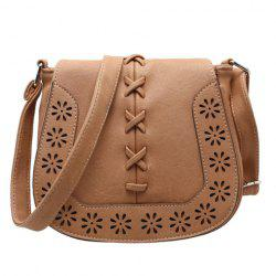 Hollow Flower Pattern Crossbody Bag - KHAKI