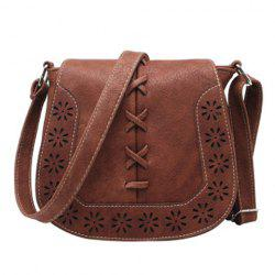 Hollow Flower Pattern Crossbody Bag - DUN