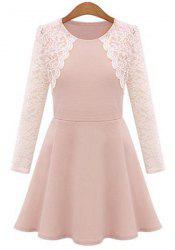 Stylish Round Collar Lace Splicing Plus Size Long Sleeve Dress For Women -