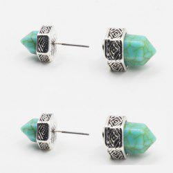 Pair of Vintage Turquoise Hexagonal Prism Shape Earrings For Women -