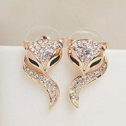 Pair of Cute Rhinestone Fox Shape Design Earrings For Women - CHAMPAGNE