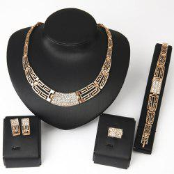 Chic Rhinestone Hollow Out Women's Necklace Bracelet Ring and A Pair of Earrings