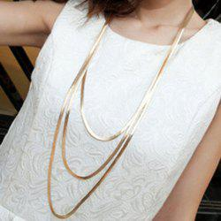Delicate Solid Color Layered Necklace For Women - GOLDEN