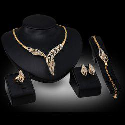 Chic Rhinestone Hollow Out Leaf Necklace Bracelet Ring and A Pair of Earrings For Women -