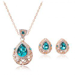 Faux Sapphire Teardrop Necklace and Earrings - CHAMPAGNE GOLD