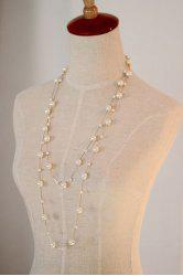 Faux Pearl Double Layered Beaded Necklace -