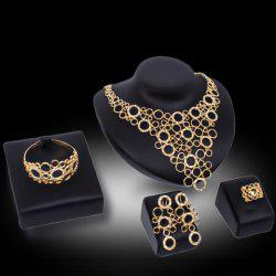 Chic Hollow Out Round Rhinestone Necklace Bracelet Ring and A Pair of Earrings For Women