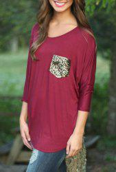 Stylish Scoop Neck 3/4 Sleeve Sequins Pocket Embellished Women's T-Shirt