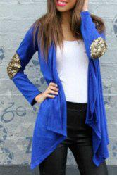 Long Sleeve Sequin Spliced Long Open Front Cardigan