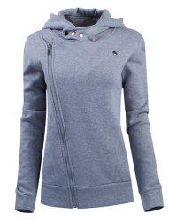 Stylish Solid Color Long Sleeves Hoodie For Women -