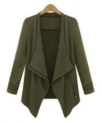 Stylish Turn-Down Collar Long Sleeve Plus Size Coat For Women - ARMY GREEN