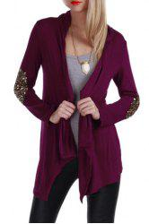 Casual Solid Color Shining Sequin Spliced Long Sleeve Cardigan For Women
