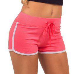 Active Color Splicing Drawstring Yoga Shorts For Women