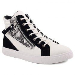 Zipper Snake Print Leather High Top Sneakers - WHITE AND BLACK