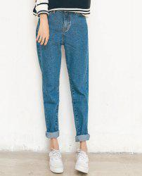 Turn Up Cuffs Boyfriend Jeans - BLUE
