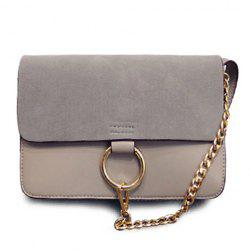 Elegant Suede and Chain Design Women's Crossbody Bag