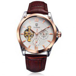 Tevise 8502 Men Tourbillon Automatic Mechanical Watch with Working Sub-dials Leather Band