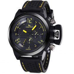 FORZA SPORT 2497 Japan Quartz Watch with Decorative Sub-dials Luminous Pointers Silicone Band for Men - YELLOW
