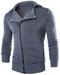 Inclined Zipper Fly Rib Spliced Turn-down Collar Men's Slimming Flocked Sweatshirt
