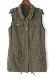 Stylish Turn Down Collar Sleeveless Solid Color Women's Waistcoat