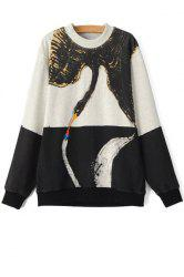 Casual Style Round Neck Long Sleeve Color Block Swan Print Women's Sweatshirt -