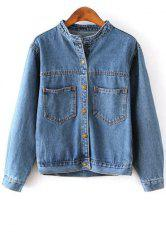 Trendy Stand Neck Long Sleeve Bleach Wash Single-Breasted Women's Denim Coat -