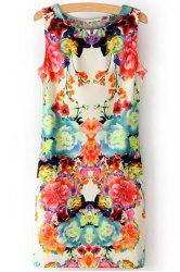 Stylish Scoop Neck Sleeveless Flower Print Women's Sundress -