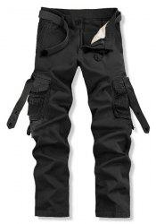 Loose Fit Trendy Solid Color Multi-Pocket Straight Leg Men's Cotton Blend Cargo Pants - BLACK 34